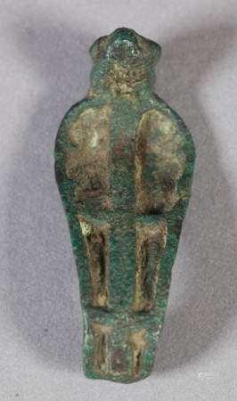 AN EGYPTIAN BRONZE URAEUS (Cobra Head) with panelled hood, 5.5cm high