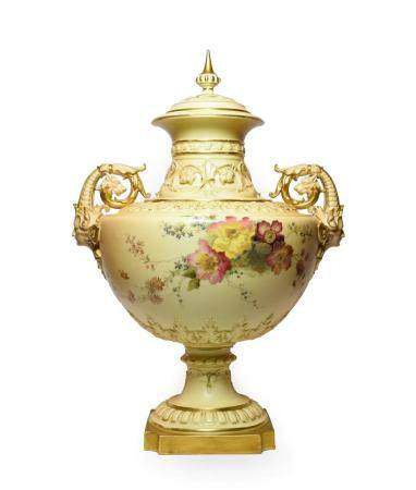 A Royal Worcester Porcelain Twin-Handled Vase and Cover, 1894, of urn shape with scroll handles
