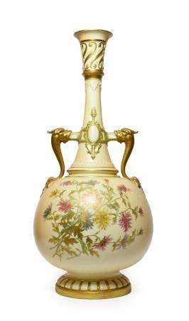 A Royal Worcester Porcelain Bottle Vase, 1869, with mythical beast handles and strapwork bands,