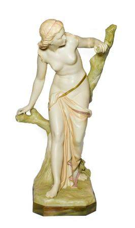 A Royal Worcester Porcelain Figure of The Bather Surprised, 1892, the standing figure loosely draped