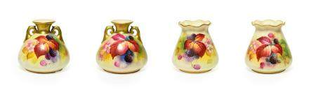 A Matched Pair of Royal Worcester Porcelain Vases, by Kitty Blake, 1930/1935, of fluted bag form,