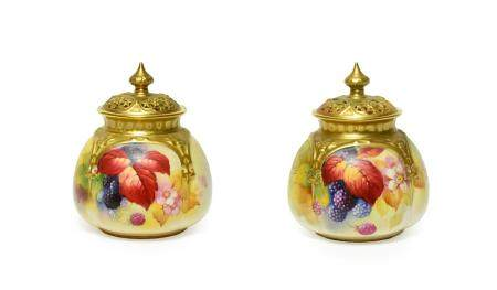 A Matched Pair of Royal Worcester Porcelain Vases and Covers, by Kitty Blake, 1932/1940, painted