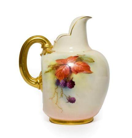 A Royal Worcester Porcelain Ewer, by Kitty Blake, 1911, of flattened ovoid form, painted with
