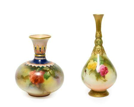 A Royal Worcester Hadley Ware Porcelain Bottle Vase, of ovoid form, painted with rose sprays beneath