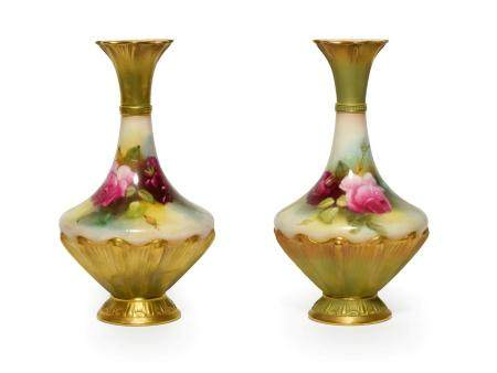 A Matched Pair of Royal Worcester Porcelain Vases, 1911/1912, of pear shape, painted with rose