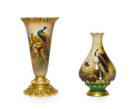 A Royal Worcester Porcelain Vase, by Walter Sedgley, 1913, of conical form with scroll moulded rim