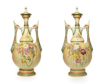 A Pair of Royal Worcester Porcelain Vases and Covers, circa 1905, of baluster form with pierced
