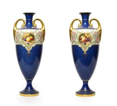 A Pair of Royal Worcester Porcelain Vases, by Horace Price, 1921, of urn shape with twin scroll