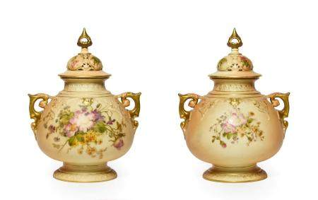A Matched Pair of Royal Worcester Porcelain Vases and Covers, 1917/1919, of ovoid form with scroll