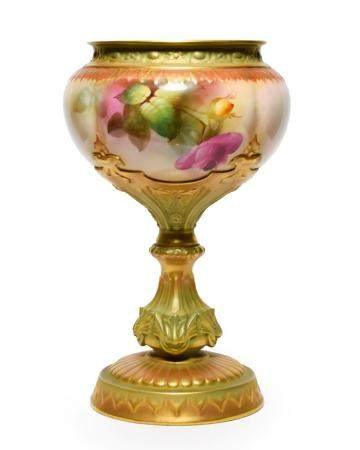 A Royal Worcester Porcelain Pedestal Vase, 1910, of ovoid form, painted with rose sprays within