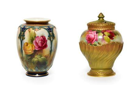 A Royal Worcester Hadley Ware Vase, 1905, of ovoid form, painted with roses within moulded, gilt and