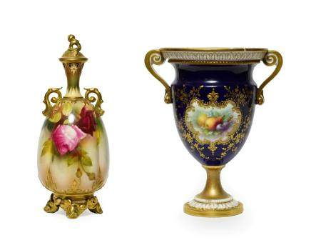 A Royal Worcester Porcelain Vase and Cover, circa 1905, of fluted baluster form with scroll