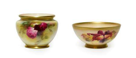 A Royal Worcester Porcelain Bowl, in the manner of Kitty Blake, 1928, painted with fruiting