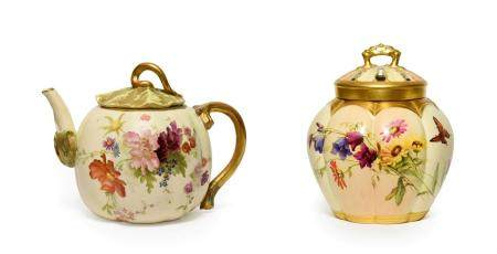 A Royal Worcester Porcelain Vase and Cover, 1904, of melon fluted form, painted with flowersprays