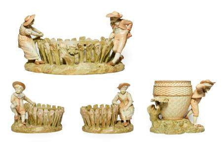 A Pair of Royal Worcester Porcelain Figural Baskets, 1888, modelled as a boy and girl sitting beside