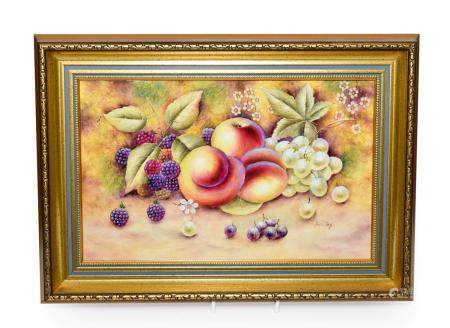 A Royal Worcester Style Porcelain Plaque, by Bryan Cox, late 20th century, painted with a still life
