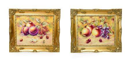 A Pair of Royal Worcester Style Porcelain Plaques, by Bryan Cox, late 20th century, painted with a