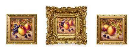 A Royal Worcester Style Plaque, by Nigel Creed, late 20th century, painted with a still life of