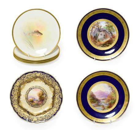 A Pair of Royal Worcester Porcelain Sandwich Plates, by Barker, 1926, of square form, painted with