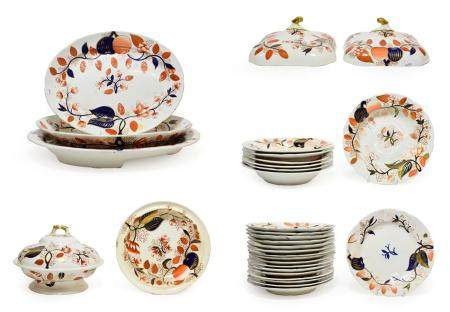 A Spode Porcelain Dinner Service, circa 1820, painted with an Imari type design, comprising a