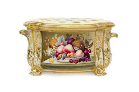 A Derby Porcelain Bough Pot and Pierced Liner, circa 1820, of bombé form with scroll handles,