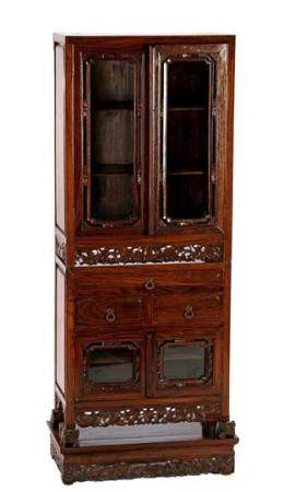 3-part rosewood oriental cabinet with beautiful stitching, 153 cm high, 63 cm wide, 33 cm deep (