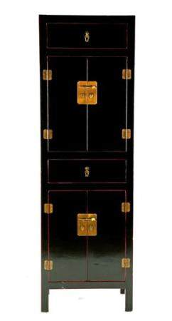 Chinese lacquer cabinet, black with red accents and equipped with 2 doors and 2 drawers with brass