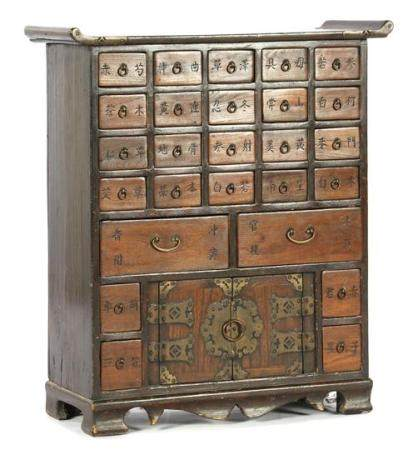 Chinese wooden cabinet with 26 drawers and 2 doors 66.5 cm high, 57.5 cm wide, 24 cm deep