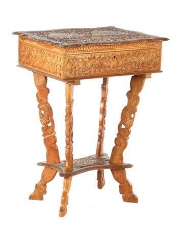 Indian teak richly decorated craft table 66 cm high, 50 cm wide, 39 cm die (dark spot in lid)