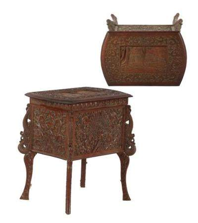 Teak craft table with richly carved decoration 55 cm high, 52 cm wide, 34 cm deep