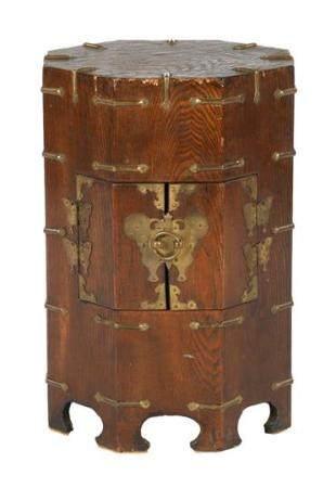 Asian wooden octagonal 2-door cabinet 45 cm high, 33 cm diameter