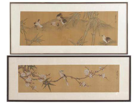 2 Japanese wall decorations on textile, external dimensions 31x76 cm and 29x79 cm