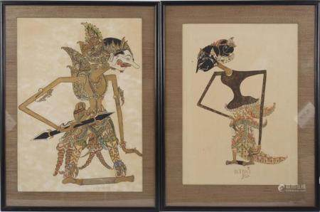 2 Indian wall decorations with depictions of Wayang puppets, mixed media & nbsp; 44x31.5 cm and 47.