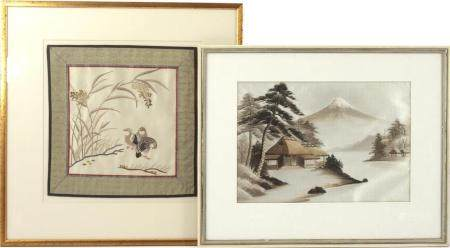 2 Oriental embroidered wall decorations, external dimensions 50x50 cm and 41.5x53.5 cm