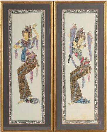 2 Indian painted depictions of dancers on linen 83.5x25.5 cm, in a frame 97x39 cm