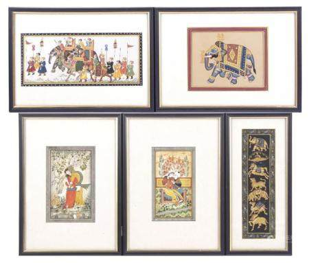 5 Indian wall decorations with images of figures, elephants and other animals