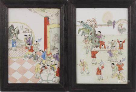 2 porcelain tiles with polychrome decoration of playing children, in wooden frame, outer size