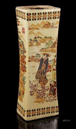 Porcelain vase with a decoration of women in a landscape, China 20th century, 32.5 cm high