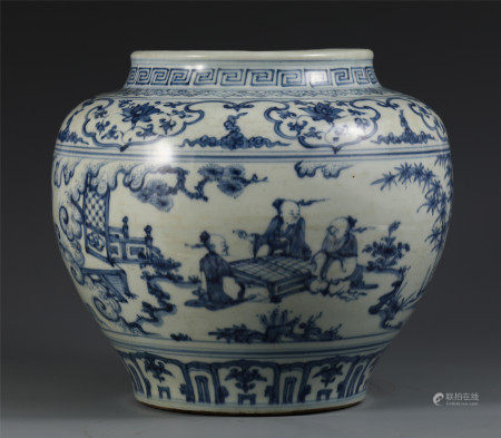 CHINESE BLUE AND WHITE PORCELAIN FIGURE AND STORY POT