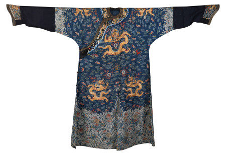 CHINESE BLUE GROUND EMBROIDERY DRAGON TMPERIAL ROBE
