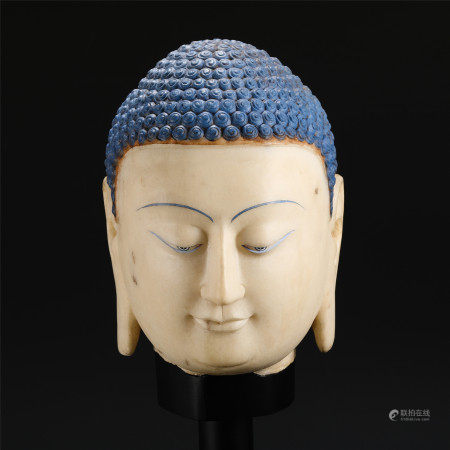 CHINESE HAN WHITE JADE CARVED BUDDHA HEAD TABLE ITEM