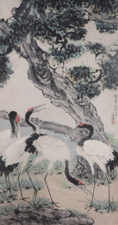 CHINESE INK AND COLOR PAINTING OF CRANES AND TREE BY XU BEIHONG