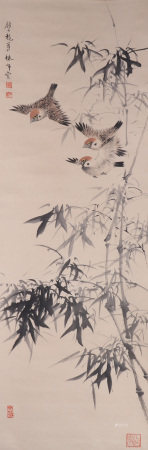 CHINESE PAINTING OF BIRDS AND BAMBOOS BY YAN BOLONG