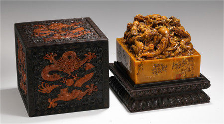 CHINESE TIANHUANG STONE CARVED BEAST KNOB SQUARE SEAL