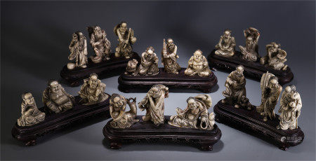 A SET OF CHINESE SOAP STOUE CARVED EIGHTEEN ARHATS TABLE ITEM