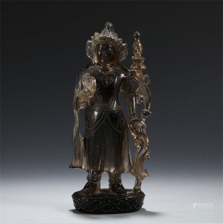 CHINESE ROCK CRYSTAL CARVED OF STANDING BUDDHA STATUE