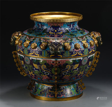 A LARGE CHINESE CLOISONNE BEAST PATTERN JAR