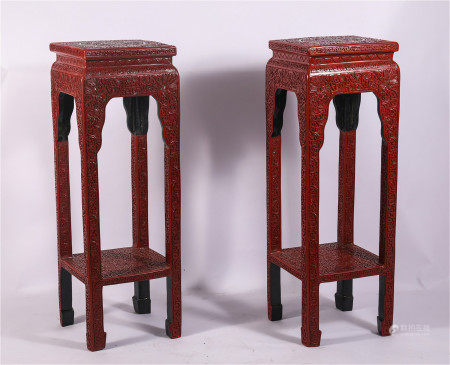 A PAIR OF CHINESE CINNABAR CARVED FLOWER SQUARE TABLE