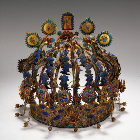 CHINESE GILT SILVER BLUE ENAMELED HEADPIECE DECORATED