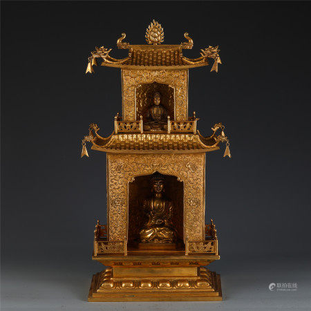 A FINE CHINESE GILT BRONZE BUDDHIST SHRINE TABLE ITEM